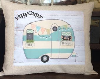 Happy Camper Vintage Camping Trailer Pillow with Insert, Vintage Style Turquoise Trailer Throw Pillow, Blue Shabby Camper Pillow with Insert