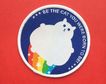 Cat Patch - Iron on Cat Patch - Sew on Patch - Embroidered Patch - Woven Cloth Patch - Fat Kitty - Rainbow Cat - Large Cat Patch