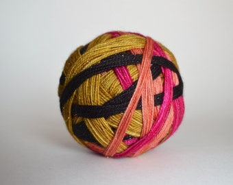 "Dyed to Order: ""Luna Lovegood (4 color self-striping)"" - Peach, Black, Magenta, Gold Stripes"