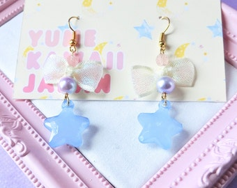 blue star Kawaii Japanese blue star bow earrings Kawaii Earrings, Fairy Kei Jewelry, Sweet Lolita Jewelry,Japanese Kawaii Jewelry,