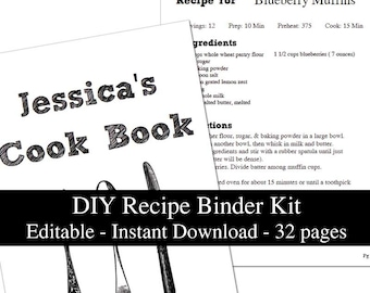 DIY white Chalkboard printable recipe binder kit editable planner instant download recipe book organizer PDF