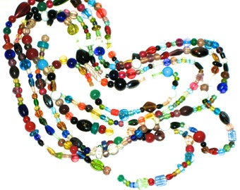 Vintage glass bead necklace flapper length amazing variety of beads