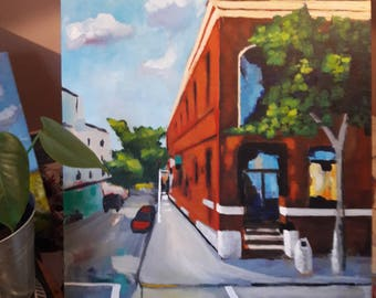 Original oil painting, impressionism, Brooklyn, New York