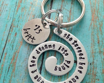 She Turned Her Cants Into Cans & Dreams Into Plans Swirl Key Ring Aluminum Round Graduation Keychain