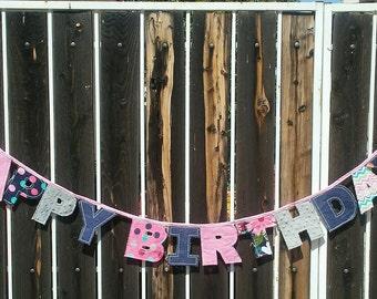 Charming Fabric Birthday Bunting