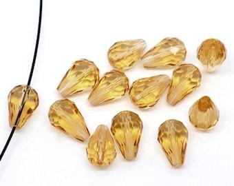 15-14x10mm Crystal Quartz Faceted Teardrop Beads Champagne (B510j)