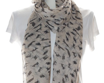 Silky beige cat Scarf shawl, Beach Wrap, Cowl Scarf,cat print scarf, cotton scarf, gifts for her