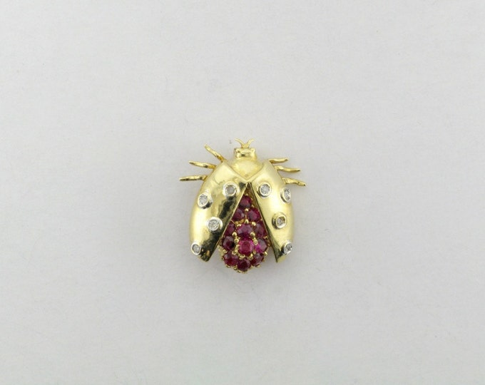 Ruby and Diamond Beetle Pin; Yellow Gold Beetle Pin with Rubies and Diamonds; Ruby Pin; Diamond Pin; Insect Pin; Ruby and Diamond Insect Pin