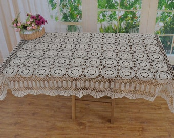 "100% Handmade oblong table cover, country living hand crocheted 51x70"" rectangular tablecloth, floral table topper for home decor"
