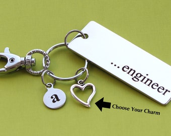Personalized Engineer Key Chain Stainless Steel Customized with Your Charm & Initial -K543