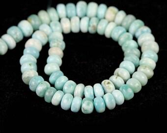 Larimar Smooth Rondelle Beads 19 Pieces of Aqua Blue White Cream Exotic Gemstones