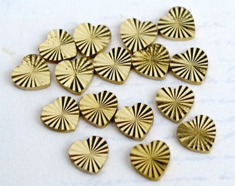 Tiny Vintage Brass Sparkly Heart Charm Findings (no hole/bail) (16X) (V353)
