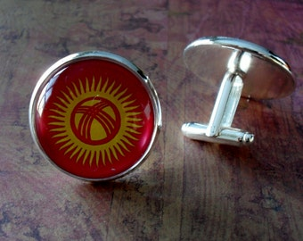 KYRGYZSTANI FLAG Silver Cufflinks // National Flag of KYRGYZSTAN // Father's Day // Groomsmen Gift // Wedding // Patriotic // Gift boxed