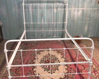 Antique iron full bed frame shabby chic white cottage