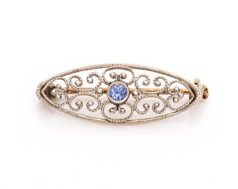 Dainty Art Nouveau Natural Cornflower Blue Sapphire 1915 Antique Pin Brooch, VJ #1104