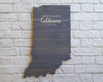 Wedding Guest Book Alternative. State Guest Book. Wood Guest Book. Custom State Sign. Personalized State Sign. Wood State Cutout, Indiana