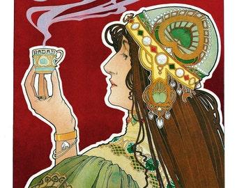 """Vintage Fine Art Giclée  Reproduction """"Rajah""""  Art-Nouveau c1898-12""""x 22"""""""