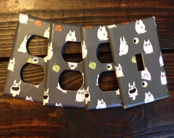 My Neighbor Totoro Light Switch And Outlet Covers | Studio Ghibli - Set of 4 - Totoro Nursery - Baby Totoro - Anime - White Rabbit - Decal