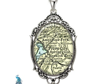 Vintage Map Necklace Oval Filigree Pendant City of Provo Utah Antique Map Pendant State of UT Map Jewelry Destination Travel Jewelry