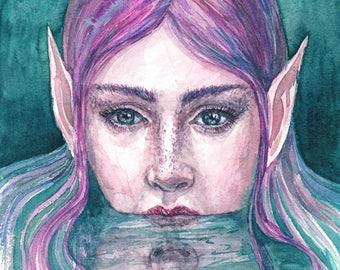 Purple Aquatic Elf - Print Giclee of Original Watercolor painting. Fantasy Art.