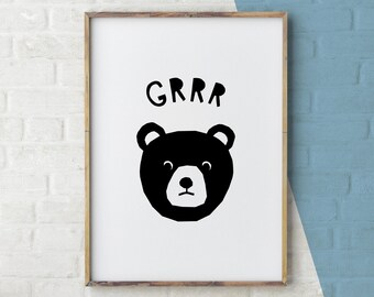 Animal Nursery Art, Woodland Animal Print, Bear Decor, Black Bear Art, Black White Animal, Printable Instant Digital Download, Large Poster