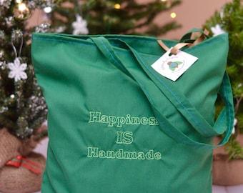 Happiness is Handmade reusable grocery bag   market bag, reusable tote bag, eco friendly bag