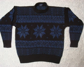 Clearance Vintage Retro Men's 90's Gant Christmas Sweater Blue Black Fair Isle Alpine Knit Hand Framed Large