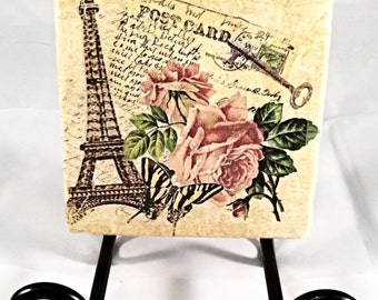 French Eiffel Tower Postcard Coaster Set ( includes 4 tiles )