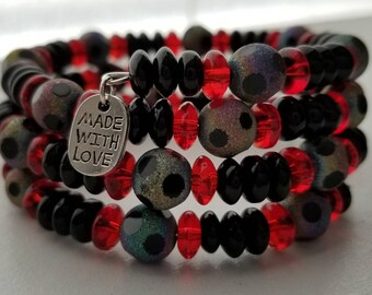 Red and Black Beaded Wrap Bracelet/Memory Wire/One size fits most/Soccer Ball