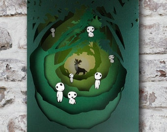 Diorama, Kodama and the king of the forest, picture, 3d, Kodama, Enchanted Forest, spirits, spirits. Night Lamp.