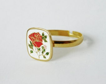 Enamel Rose Ring - Adjustable Ring