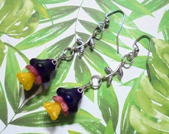 Dark Blue, Pink and Yellow Flower Dangle Earrings (3831)