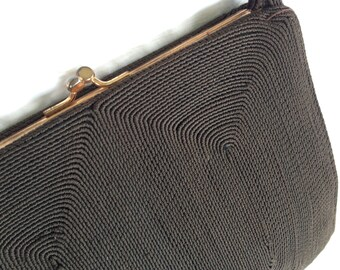 Dark CHOCOLATE BROWN PURSE, Corde Style, 1940s Corde Purse, Brown Corde Handbag