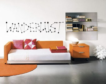 WANDERLUST Constellation Wall Decal - Stars - Home Decor - Travel - Adventure - Explore - High Quality Vinyl Graphic