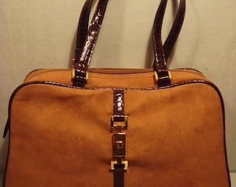Vintage 1980s Caramel and Suede Handbag Purse