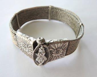 Silver Mesh Bracelet Screw Closing