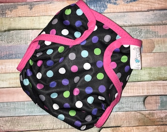 Pink and Purple polka Dot Poly PUL Cloth Diaper Cover With Aplix Hook&Loop Or Snaps You Pick Size XS/Newborn, Small, Medium, Large, or OS