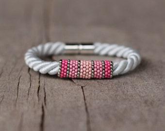 White Silvery Rope Bracelet, Pink Bracelet, Contemporary Jewelry, Girlfriend Gift, Womens Bracelet, Elegant Bracelet, Everyday Jewelry