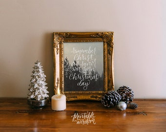 INSTANT DOWNLOAD Christmas printable decoration, holiday wall art decor poster christmas carol typography christian Printable Wisdom