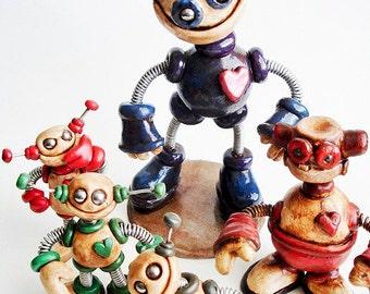 ORIGINAL MOVIE PROPS Grungy Bots Robot Sculptures as seen in Hellbenders - Horror Fan Gift