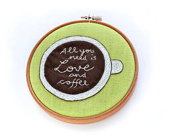 coffee embroidery pattern, quote embroidery, inspirational embroidery, office decor, hand embroidery pattern, beginner embroidery