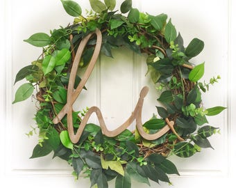 Hi Sign Wreath |  Ficus Leaf + Eucalyptus | Greenery Wreath | Grapevine Wreath | Front Door Wreath