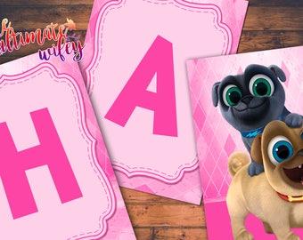 Disney Puppy Dog Pals Pink Themed CUSTOMIZED Birthday Banner DIGITAL FILES
