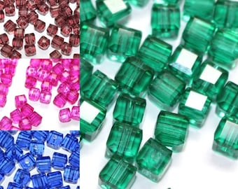 Bulk 4mm Cube Crystal Bead Colors, set of 20, 50 or 100 pieces - Supplies |AC-C4-R-081-010-001-004