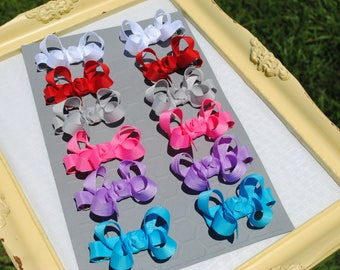 Tiny Bow Set - 2 Inch Hair Bows for Babies - Custom Colors Mini Boutique Bow Pairs Ribbon Hair Bow Preschool Pigtail Bows No Slip Hair Clips