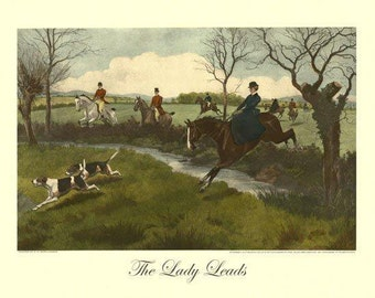 Horse Fox Hunting Scene Dogs Lady Leads Art Poster Repro FREE SHIPPING in USA
