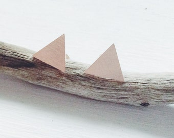 Triangle Studs, Rose Gold Studs, Triangle Posts, Rose Gold Triangle Post Earrings, Triangle Post Earrings
