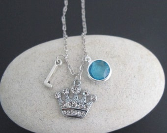 Princess Crown Necklace, Little Girls Gifts, Personalized Crown Necklace with Birthstone and Initial, Gift for Her, Free Shipping USA