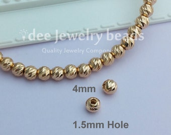 4mm Italy diamond cut beads, Solid 925 Sterling Silver with Rose gold plated.  F503