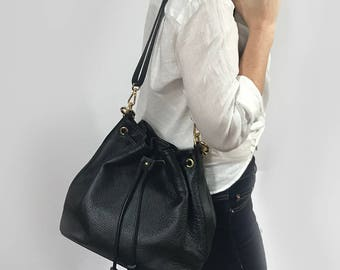 Bucket Bag Black Pebble Grain Leather